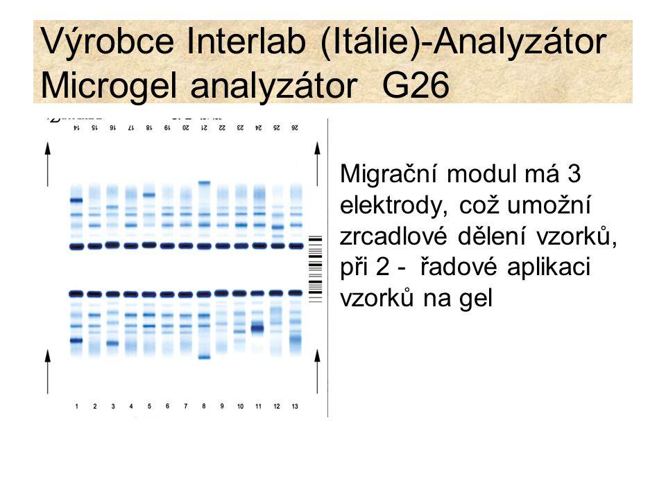 Výrobce Interlab (Itálie)-Analyzátor Microgel analyzátor G26 Migrační modul má 3 elektrody, což umožní zrcadlové dělení vzorků, při 2 - řadové aplikac
