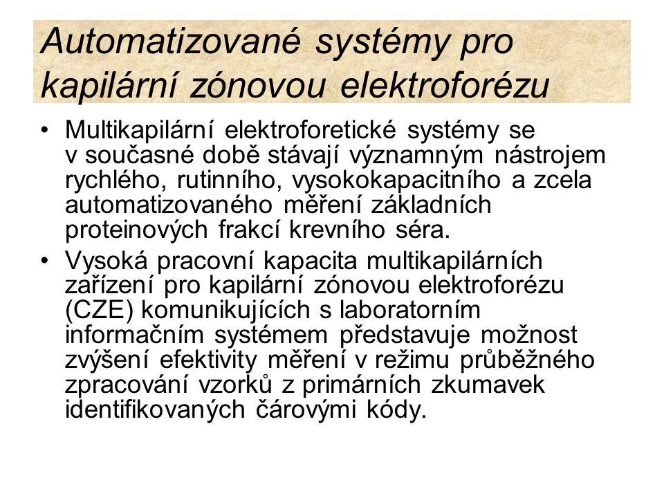 Automatizované systémy pro kapilární zónovou elektroforézu Multikapilární elektroforetické systémy se v současné době stávají významným nástrojem rych