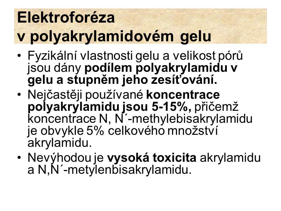 Elektroforéza v polyakrylamidovém gelu Fyzikální vlastnosti gelu a velikost pórů jsou dány podílem polyakrylamidu v gelu a stupněm jeho zesíťování. Ne