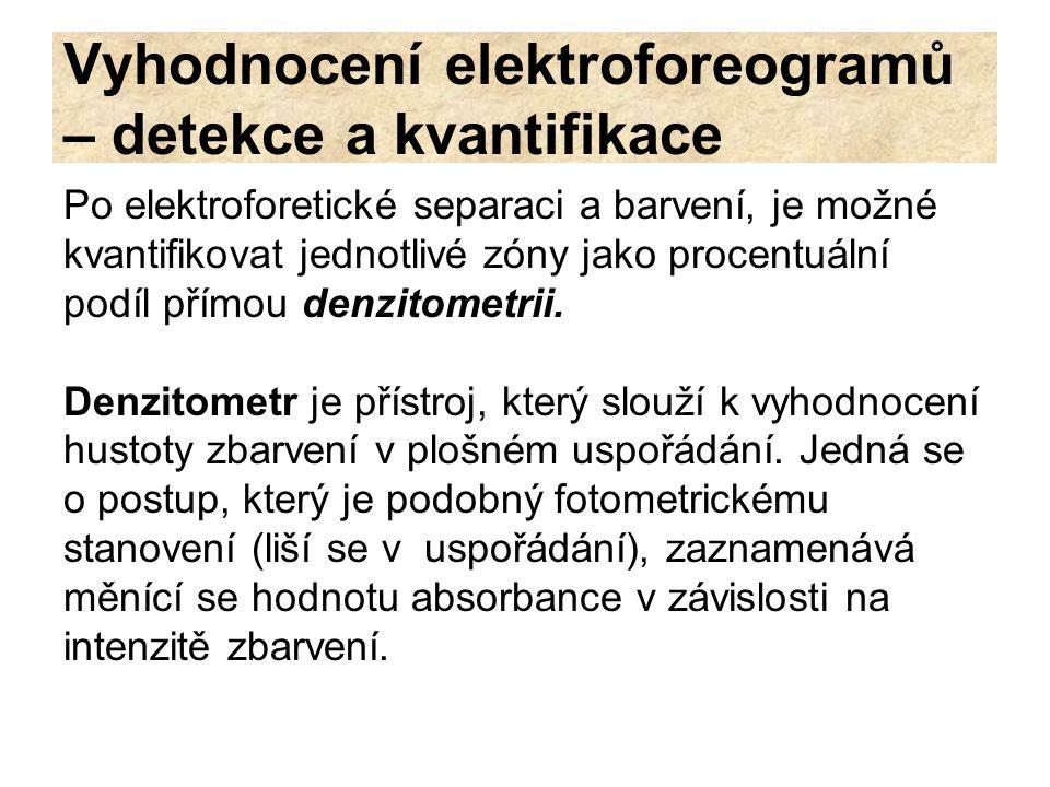 Vyhodnocení elektroforeogramů – detekce a kvantifikace Po elektroforetické separaci a barvení, je možné kvantifikovat jednotlivé zóny jako procentuáln