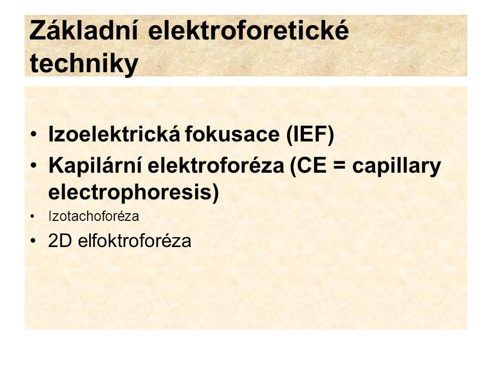 Základní elektroforetické techniky Izoelektrická fokusace (IEF) Kapilární elektroforéza (CE = capillary electrophoresis) Izotachoforéza 2D elfoktrofor