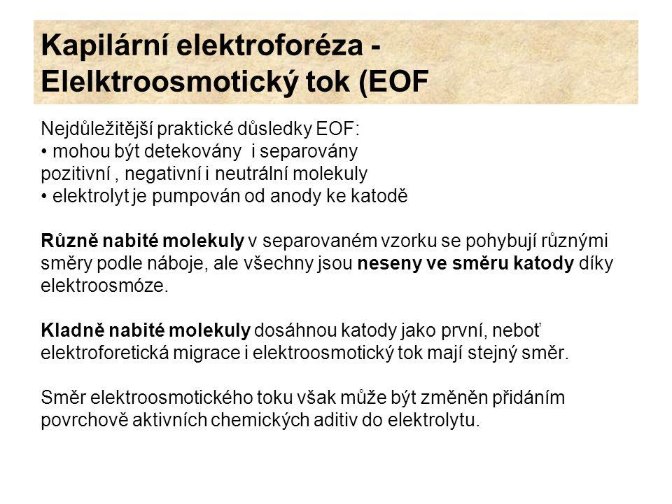 Kapilární elektroforéza - Elelktroosmotický tok (EOF Nejdůležitější praktické důsledky EOF: mohou být detekovány i separovány pozitivní, negativní i n