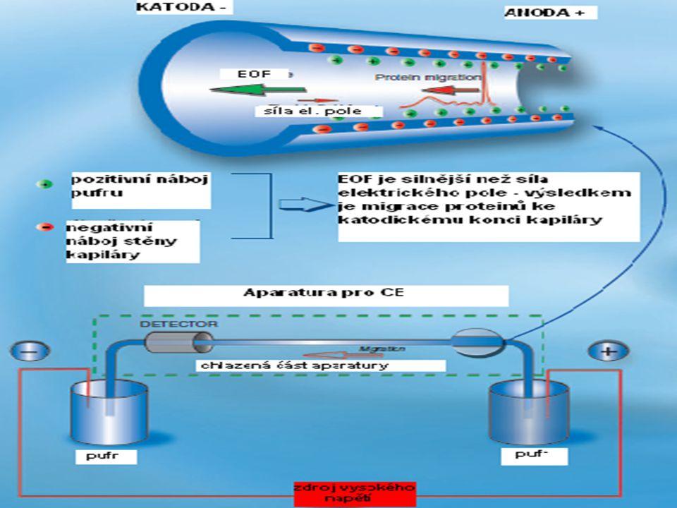 Kapilární elektroforéza – technické uspořádání Největší výhodou CE oproti tradičním elektroforetickým technikám je možnost účinného odvodu tepla během separece.