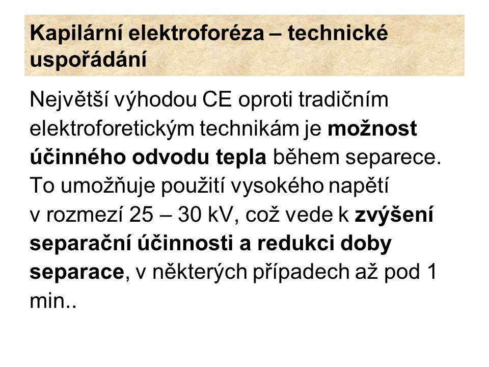 Kapilární elektroforéza – technické uspořádání Největší výhodou CE oproti tradičním elektroforetickým technikám je možnost účinného odvodu tepla během