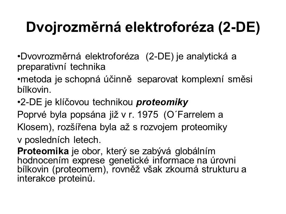 Dvojrozměrná elektroforéza (2-DE) Dvovrozměrná elektroforéza (2-DE) je analytická a preparativní technika metoda je schopná účinně separovat komplexní