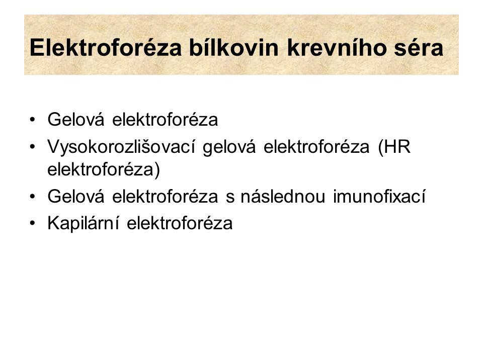 Elektroforéza bílkovin krevního séra Gelová elektroforéza Vysokorozlišovací gelová elektroforéza (HR elektroforéza) Gelová elektroforéza s následnou i