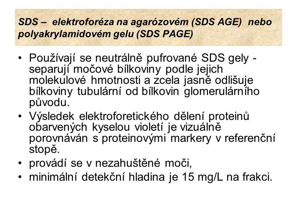 SDS – elektroforéza na agarózovém (SDS AGE) nebo polyakrylamidovém gelu (SDS PAGE) V přebytku detergentu SDS jsou bílkoviny změněny v komplexy kde dochází k rozrušení nativní struktury bílkovin a zaujetí uniformní struktury o stejném negativním elektrickém náboji na jednotku hmotnosti.