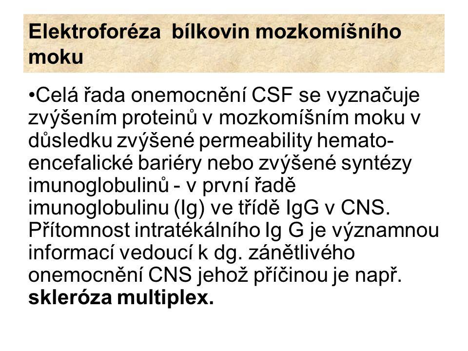 Elektroforéza bílkovin mozkomíšního moku Izoelektrická fokuzace : metoda zahrnuje izoelektrofokusaci na agarózovém gelu, následovanou immunofixací s anti-Ig G antisérem.