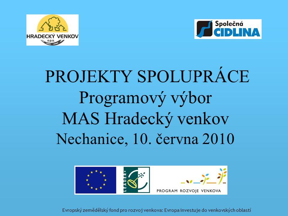 PROJEKTY SPOLUPRÁCE Programový výbor MAS Hradecký venkov Nechanice, 10.