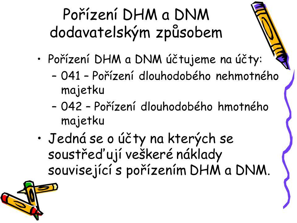 Pořízení DHM a DNM dodavatelským způsobem Pořízení DHM a DNM účtujeme na účty: –041 – Pořízení dlouhodobého nehmotného majetku –042 – Pořízení dlouhodobého hmotného majetku Jedná se o účty na kterých se soustřeďují veškeré náklady související s pořízením DHM a DNM.