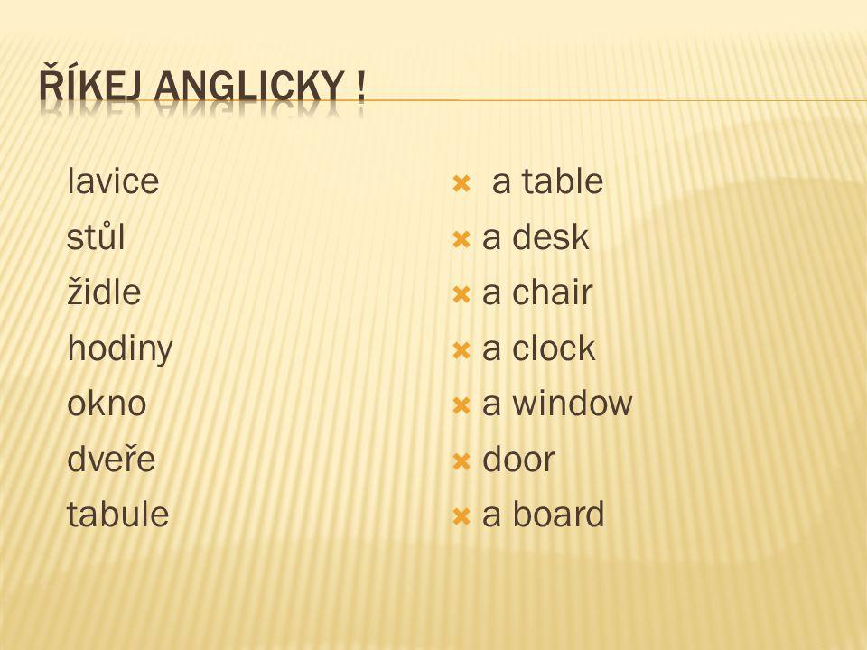lavice stůl židle hodiny okno dveře tabule  a table  a desk  a chair  a clock  a window  door  a board