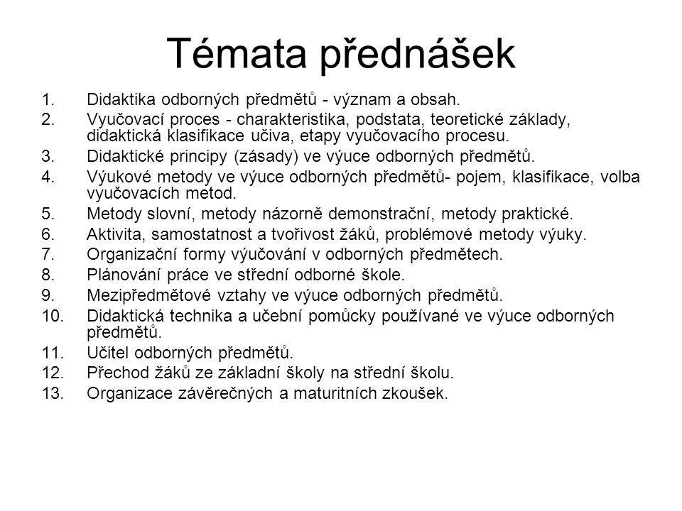 Témata přednášek 1.Didaktika odborných předmětů - význam a obsah.