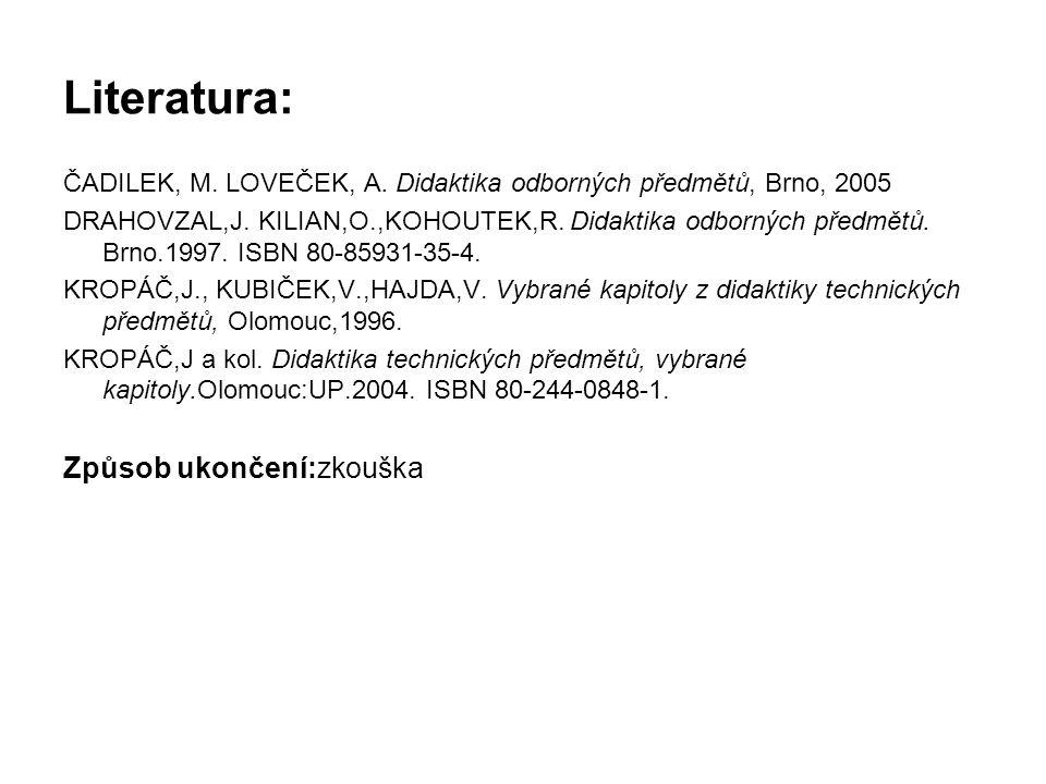 Literatura: ČADILEK, M.LOVEČEK, A. Didaktika odborných předmětů, Brno, 2005 DRAHOVZAL,J.