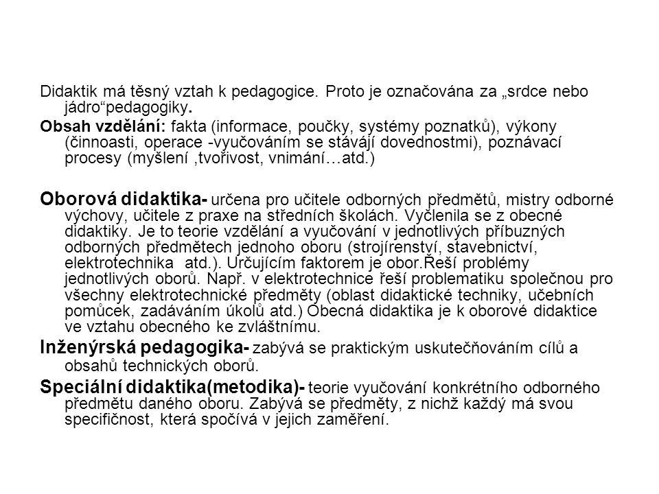 """Didaktik má těsný vztah k pedagogice.Proto je označována za """"srdce nebo jádro pedagogiky."""