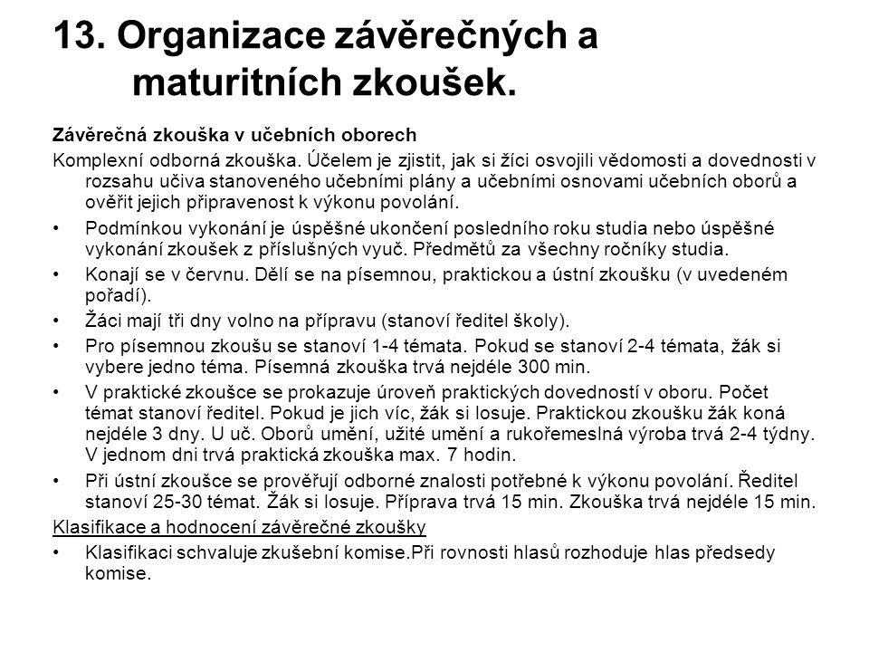 13.Organizace závěrečných a maturitních zkoušek.