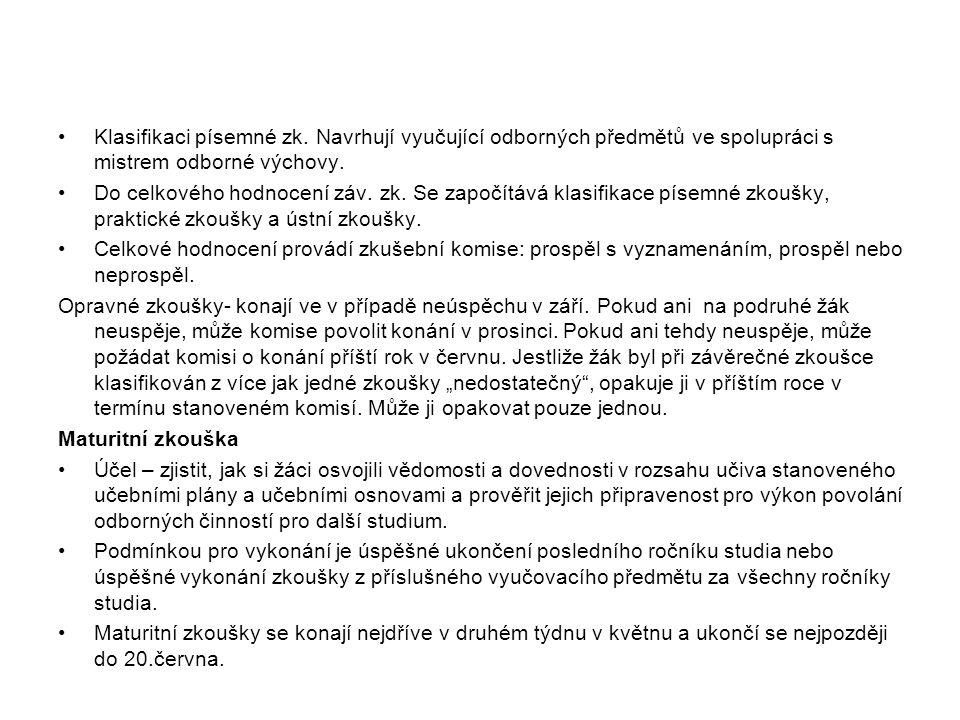 Klasifikaci písemné zk.