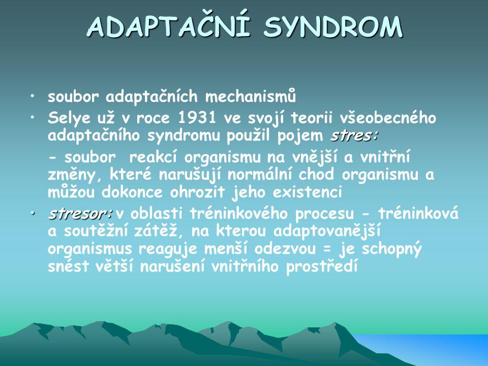 ADAPTAČNÍ SYNDROM soubor adaptačních mechanismů stres:Selye už v roce 1931 ve svojí teorii všeobecného adaptačního syndromu použil pojem stres: - soub