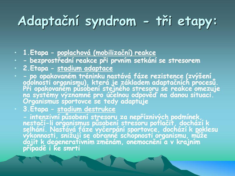 Adaptační syndrom - tři etapy: 1.Etapa - poplachová (mobilizační) reakce - bezprostřední reakce při prvním setkání se stresorem 2.Etapa - stadium adap