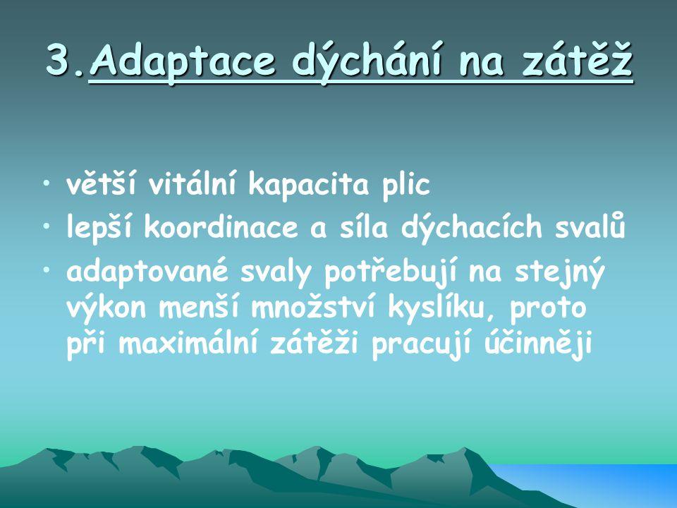 3.Adaptace dýchání na zátěž větší vitální kapacita plic lepší koordinace a síla dýchacích svalů adaptované svaly potřebují na stejný výkon menší množs