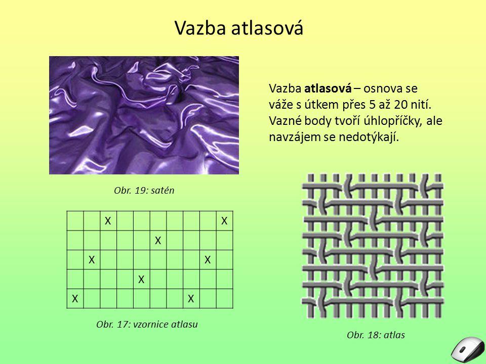 Kordové tkaniny Kordová vazba je zvláštním druhem vazby plátnové osnova mnohonásobně pevnější než útek útkové nitě velmi řídké Obr.