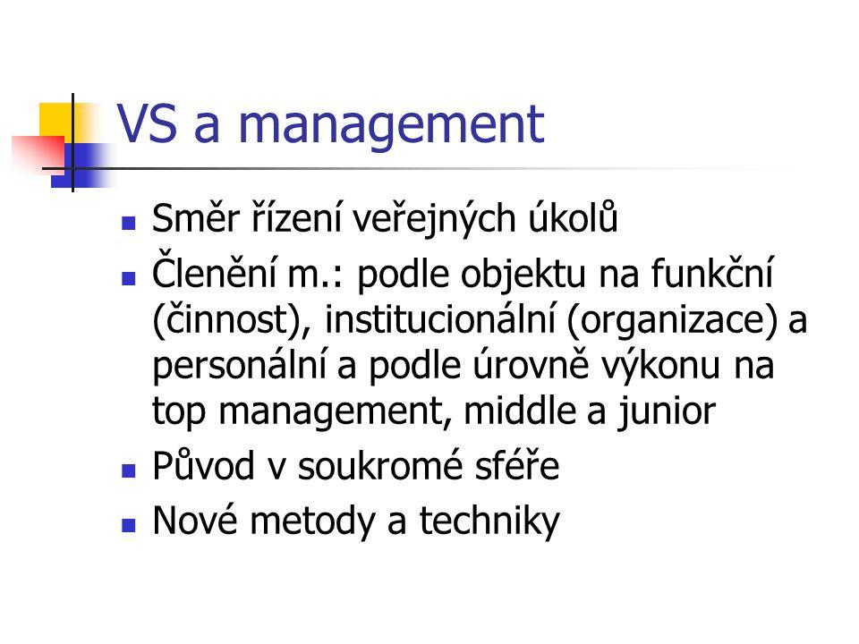 VS a management Směr řízení veřejných úkolů Členění m.: podle objektu na funkční (činnost), institucionální (organizace) a personální a podle úrovně v