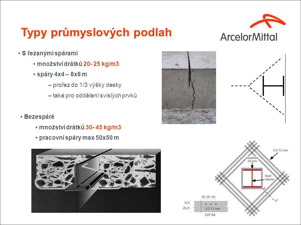 Typy průmyslových podlah S řezanými spárami množství drátků 20- 25 kg/m3 spáry 4x4 – 8x8 m – prořez do 1/3 výšky desky – také pro oddělení svislých prvků Bezespáré množství drátků 30- 45 kg/m3 pracovní spáry max 50x50 m
