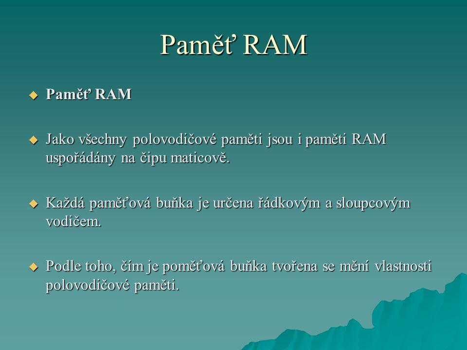 Paměť RAM  Paměť RAM  Jako všechny polovodičové paměti jsou i paměti RAM uspořádány na čipu maticově.