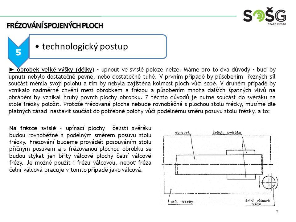 5 technologický postup ► obrobek velké výšky (délky) - upnout ve svislé poloze nelze.