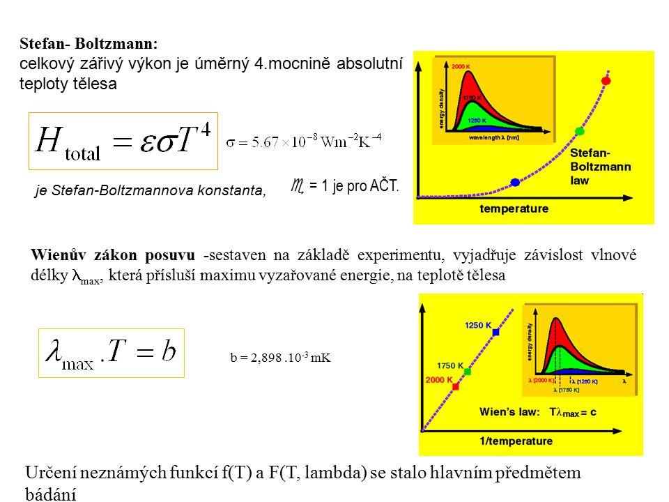 Stefan- Boltzmann: celkový zářivý výkon je úměrný 4.mocnině absolutní teploty tělesa je Stefan-Boltzmannova konstanta,  = 1 je pro AČT.