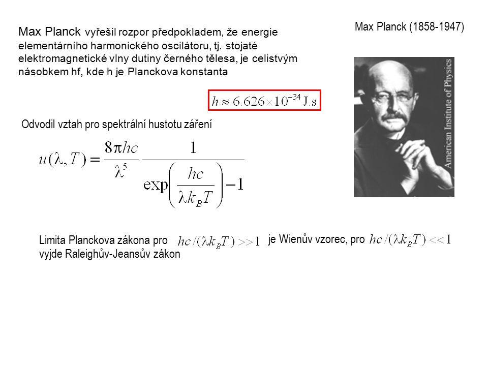 Max Planck vyřešil rozpor předpokladem, že energie elementárního harmonického oscilátoru, tj.