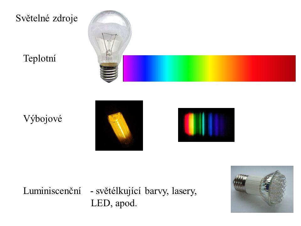 Světelné zdroje Teplotní Výbojové Luminiscenční - světélkující barvy, lasery, LED, apod.