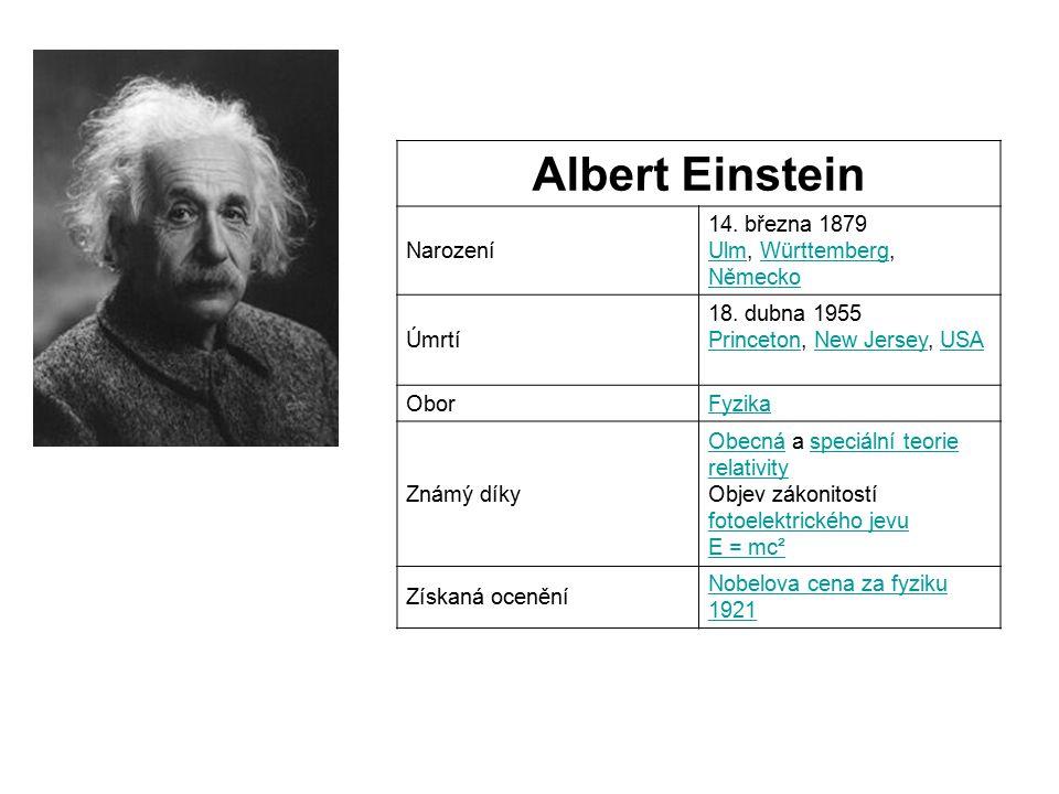 Albert Einstein Narození 14.března 1879 Ulm, Württemberg, Německo UlmWürttemberg Německo Úmrtí 18.