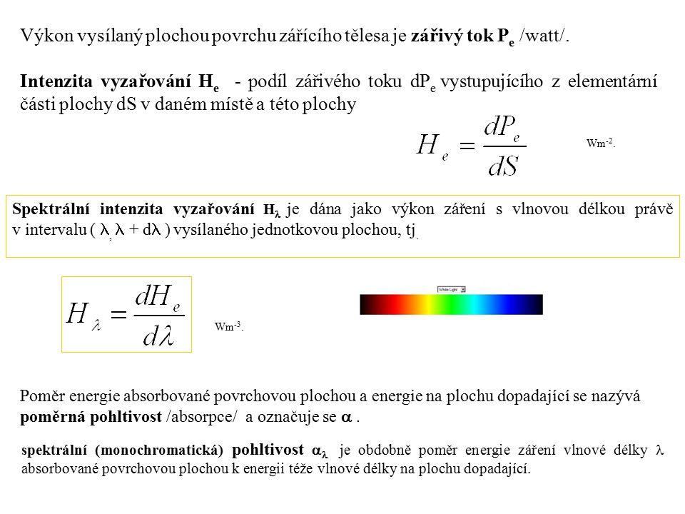 Výkon vysílaný plochou povrchu zářícího tělesa je zářivý tok P e /watt/.