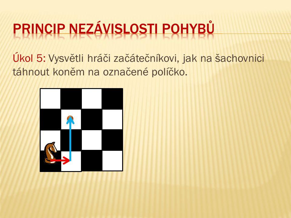 Úkol 5: Vysvětli hráči začátečníkovi, jak na šachovnici táhnout koněm na označené políčko.