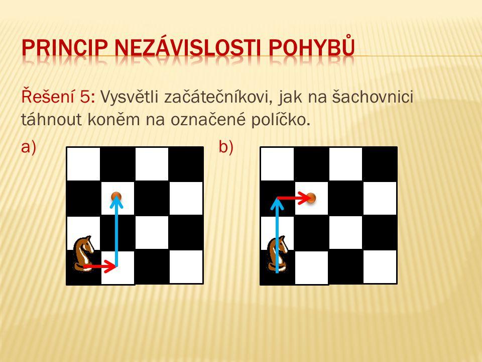 Řešení 5: Vysvětli začátečníkovi, jak na šachovnici táhnout koněm na označené políčko. a) b)