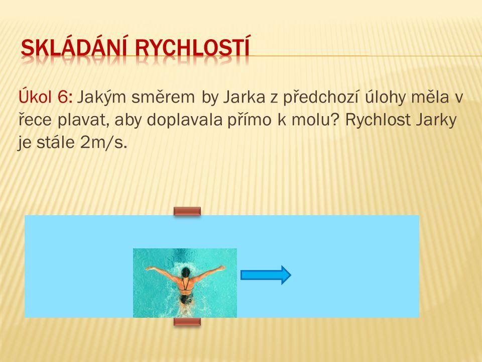 Úkol 6: Jakým směrem by Jarka z předchozí úlohy měla v řece plavat, aby doplavala přímo k molu? Rychlost Jarky je stále 2m/s.