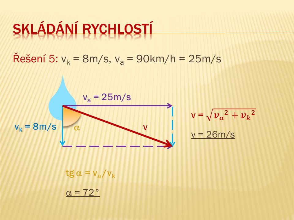 Řešení 5: v k = 8m/s, v a = 90km/h = 25m/s v a = 25m/s v k = 8m/s v  tg  = v a /v k  = 72° v = 26m/s