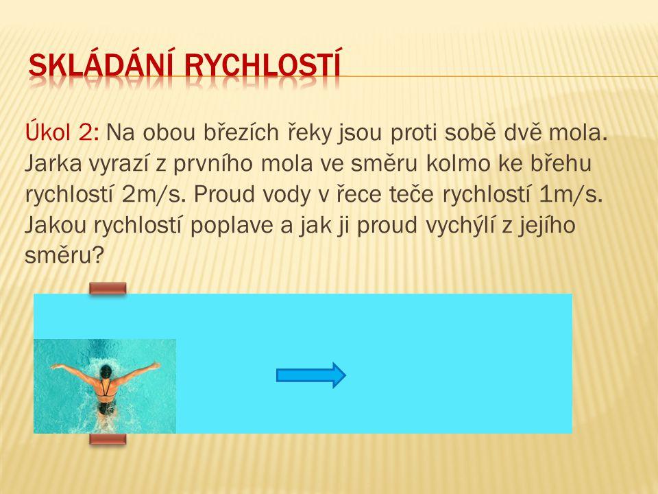 Úkol 6: Jakým směrem by Jarka z předchozí úlohy měla v řece plavat, aby doplavala přímo k molu.