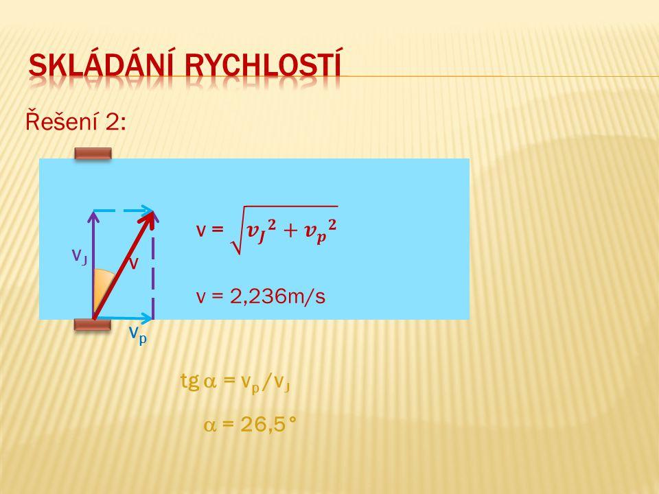 Řešení 2: vJvJ vpvp v tg  = v p /v J  = 26,5°