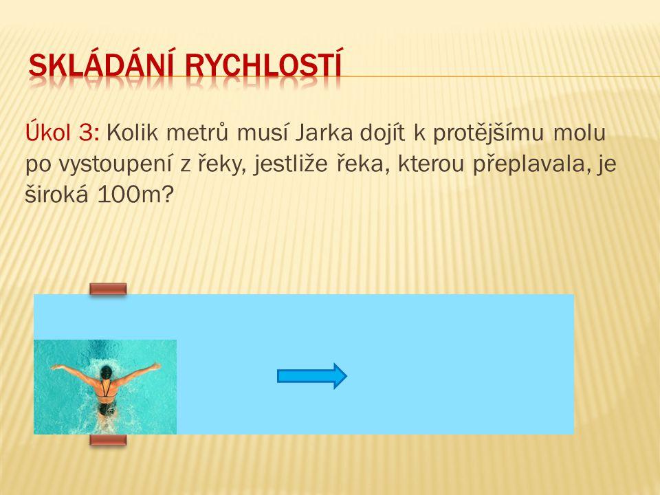 Úkol 3: Kolik metrů musí Jarka dojít k protějšímu molu po vystoupení z řeky, jestliže řeka, kterou přeplavala, je široká 100m?
