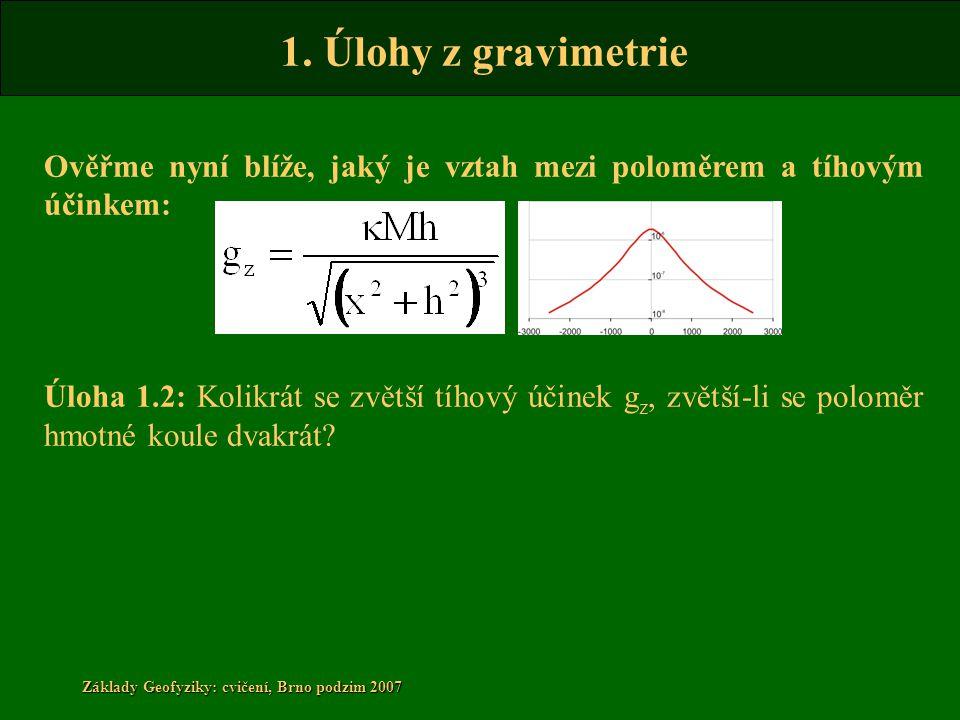 1. Úlohy z gravimetrie Základy Geofyziky: cvičení, Brno podzim 2007 Ověřme nyní blíže, jaký je vztah mezi poloměrem a tíhovým účinkem: Úloha 1.2: Koli