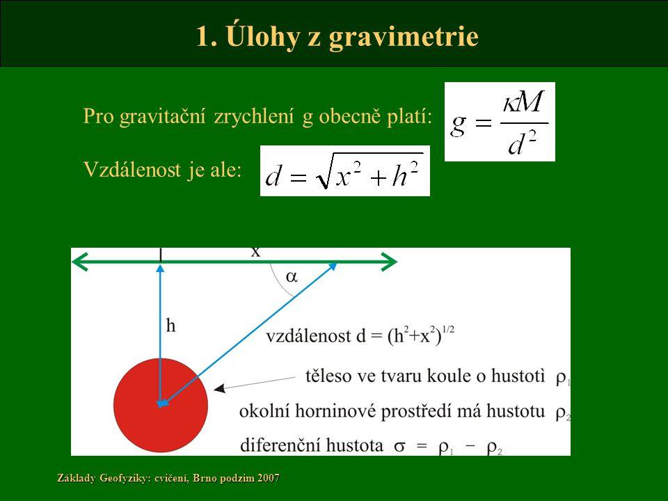 1. Úlohy z gravimetrie Základy Geofyziky: cvičení, Brno podzim 2007 Pro gravitační zrychlení g obecně platí: Vzdálenost je ale:
