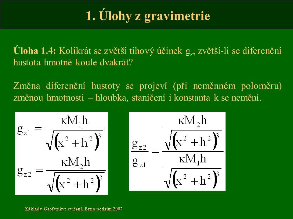 1. Úlohy z gravimetrie Základy Geofyziky: cvičení, Brno podzim 2007 Úloha 1.4: Kolikrát se zvětší tíhový účinek g z, zvětší-li se diferenční hustota h