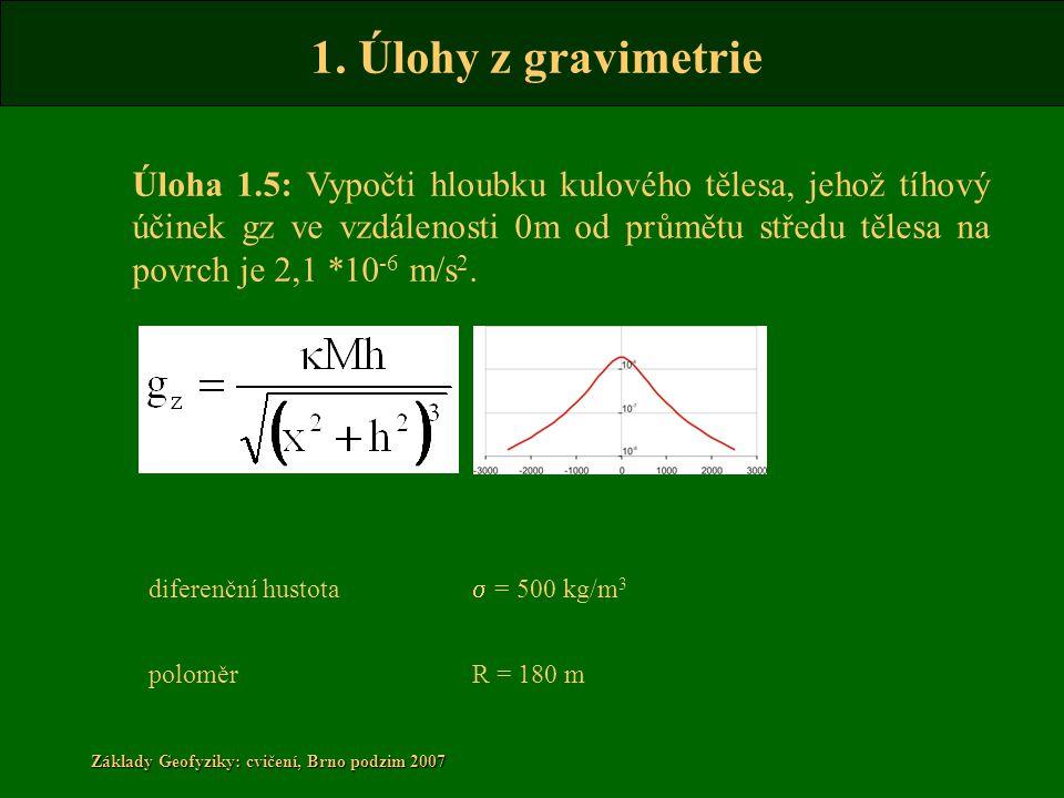 1. Úlohy z gravimetrie Základy Geofyziky: cvičení, Brno podzim 2007 Úloha 1.5: Vypočti hloubku kulového tělesa, jehož tíhový účinek gz ve vzdálenosti
