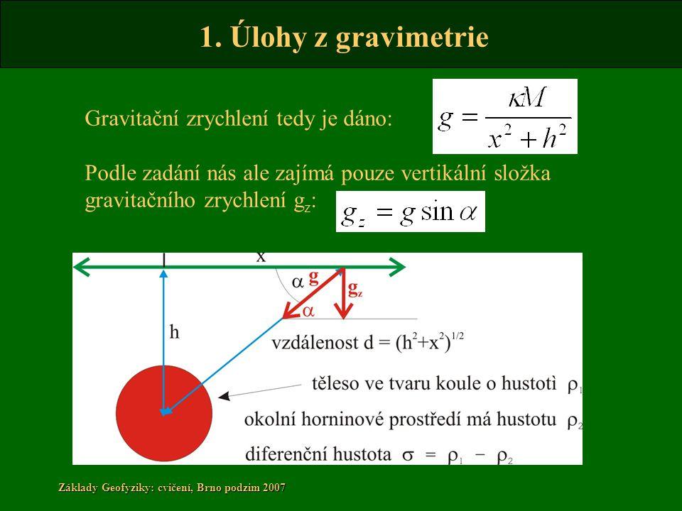 1. Úlohy z gravimetrie Základy Geofyziky: cvičení, Brno podzim 2007 Gravitační zrychlení tedy je dáno: Podle zadání nás ale zajímá pouze vertikální sl