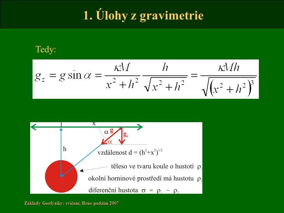 1. Úlohy z gravimetrie Základy Geofyziky: cvičení, Brno podzim 2007 Tedy: