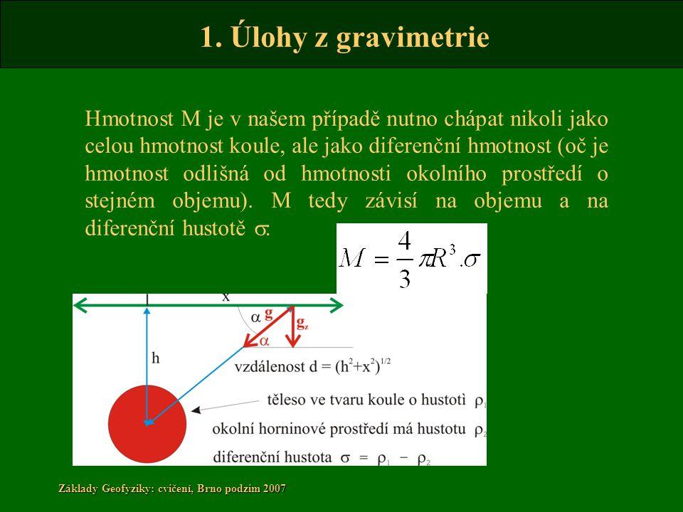 1. Úlohy z gravimetrie Základy Geofyziky: cvičení, Brno podzim 2007 Hmotnost M je v našem případě nutno chápat nikoli jako celou hmotnost koule, ale j