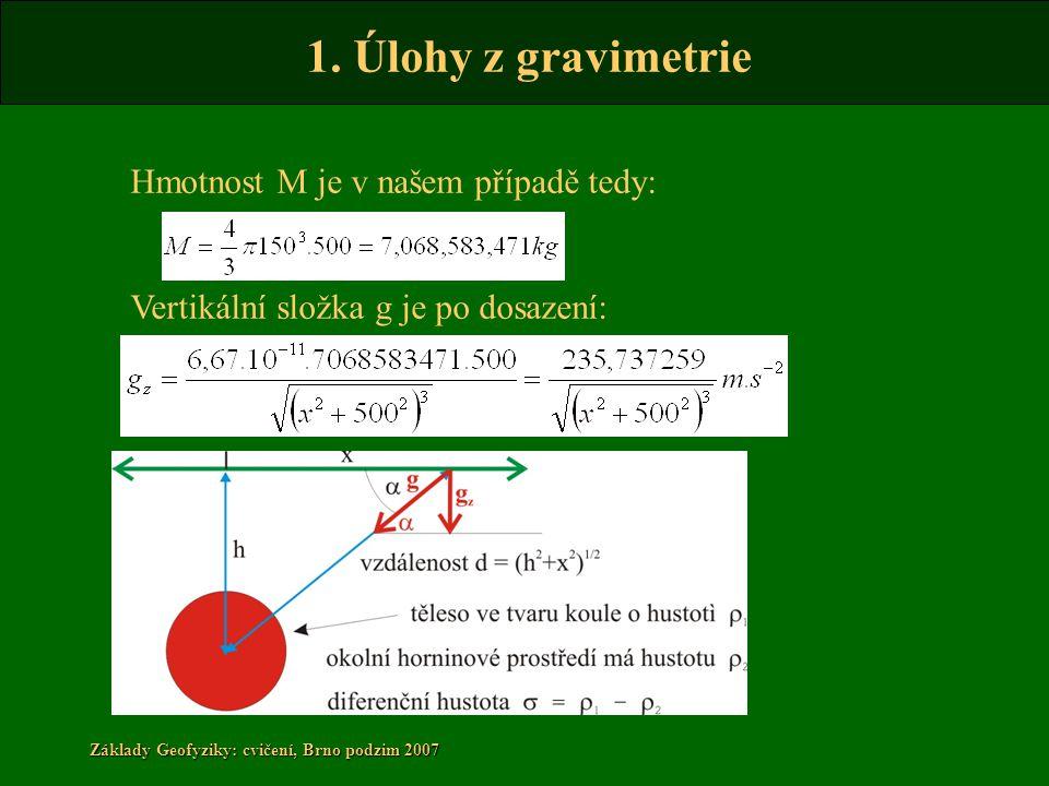 1. Úlohy z gravimetrie Základy Geofyziky: cvičení, Brno podzim 2007 Hmotnost M je v našem případě tedy: Vertikální složka g je po dosazení:
