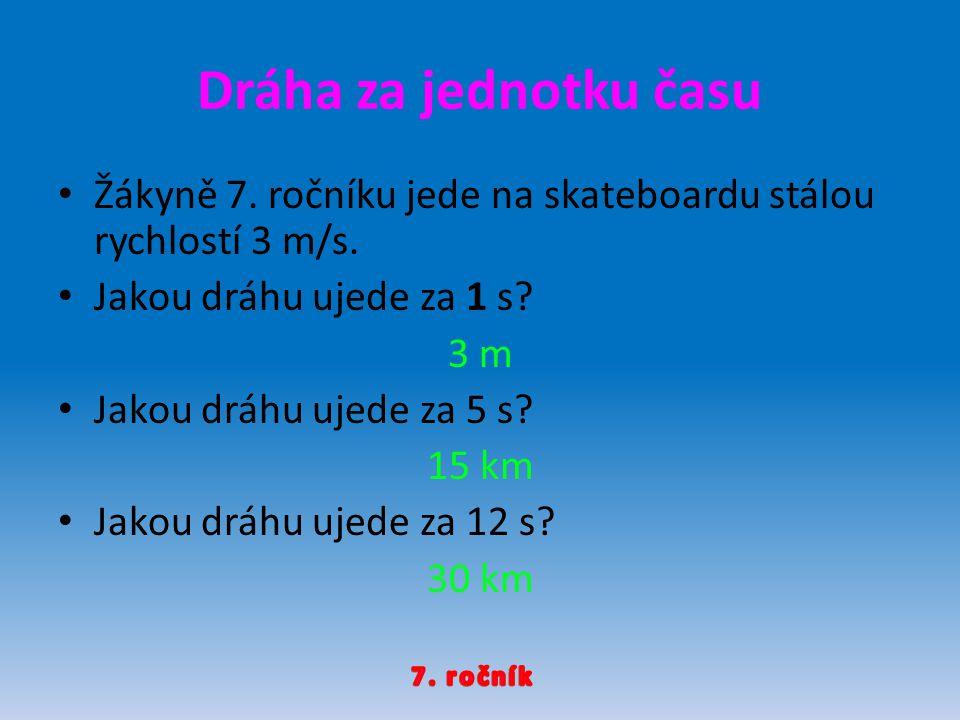 Žákyně 7.ročníku jede na skateboardu stálou rychlostí 3 m/s.