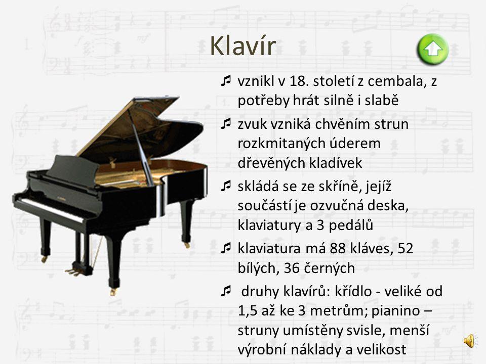 Klávesové varhany klavír cembalo akordeon harmonium